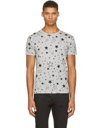 Saint Laurent Grey Star Print T Shirt