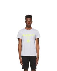 Balmain Grey Velvet Logo T Shirt