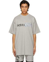 Vetements Grey Vertical Cut Up Logo T Shirt