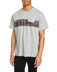 Burberry Kempster Leopard Stripe Logo Graphic Tee