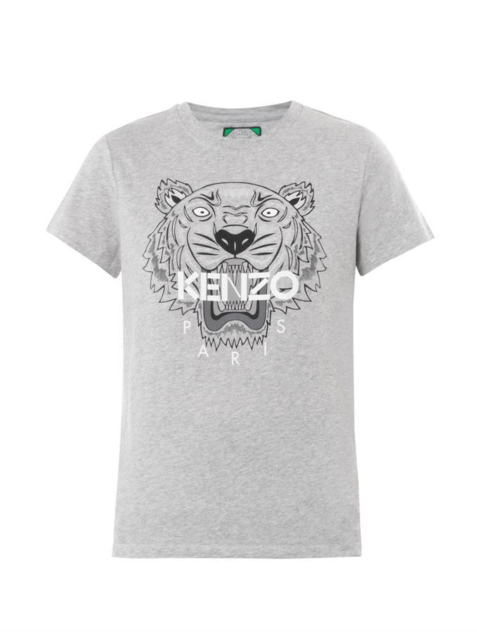 Grey Print Crew Neck T Shirt Kenzo Tiger Print T Shirt