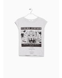 Mango Leopard Print Message T Shirt