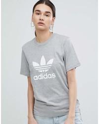 adidas Originals Trefoil Oversized T Shirt In Gray
