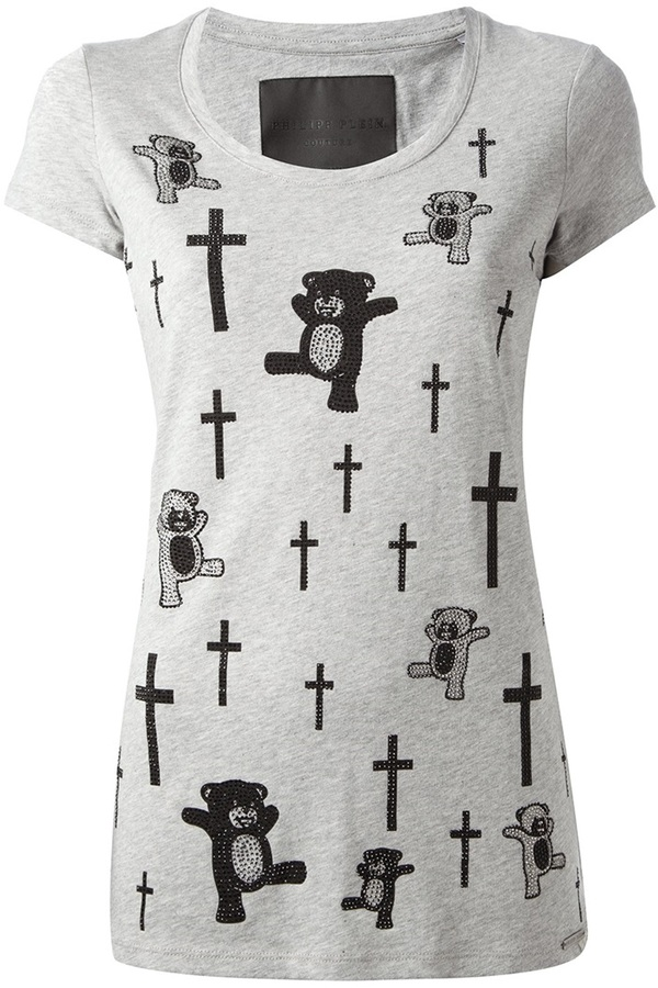 70d14e44814 ... Crew-neck T-shirts Philipp Plein Teddy Bear And Cross Print T Shirt