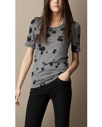 Burberry Silk Cotton Splatter Print T Shirt