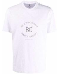 Brunello Cucinelli Slogan Print Cotton T Shirt
