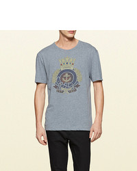 Gucci Washed Cotton Jersey T Shirt With Anchor Crest Print