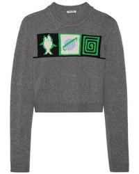 Miu Miu Cropped Intarsia Cashmere Sweater Gray