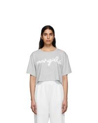 MM6 MAISON MARGIELA Grey Logo Cropped T Shirt