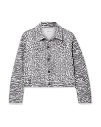 Current/Elliott The Baby Trucker Leopard Print Denim Jacket
