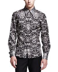 Alexander McQueen Lace Skull Print Dress Shirt Blackivory