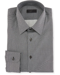 Prada Diamond Print Dress Shirt Gray