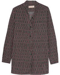 Printed stretch satin crepe shirt medium 3638232