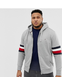 Tommy Hilfiger Big Tall Icon Logo And Sleeve Stripe Full Zip Hoodie Relaxed Fit In Grey Marl