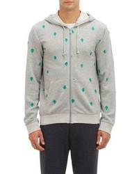 Burkman Bros Green Leaves Zip Up Hoodie Grey Size S