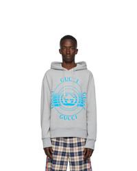 Gucci Grey Logo Disk Print Oversized Hoodie