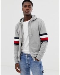 Tommy Hilfiger Icon Logo And Sleeve Stripe Full Zip Hoodie Relaxed Fit In Grey Marl