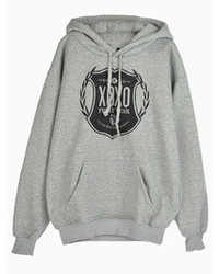 XOXO Logo Print Gray Hoodie With No88 Back