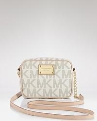 Grey Print Leather Crossbody Bag