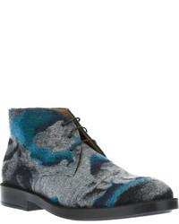 Grey Print Leather Desert Boots