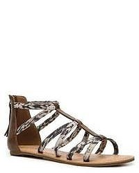 Grey Print Leather Gladiator Sandals