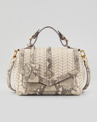 797 Medium Raffia Snake Print Satchel Bag Natural