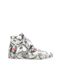 Grey Print Leather High Top Sneakers