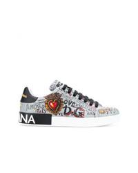 Dolce & Gabbana Portofino Graffiti Print Sneakers