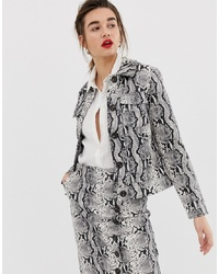Warehouse Faux Leather Jacket In Snake Print