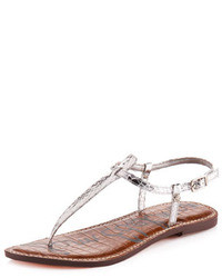 Grey Print Leather Thong Sandals