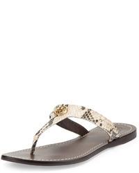 Tory Burch Cameron Python Print Thong Sandal Natural