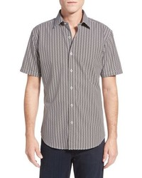 Classic fit short sleeve optic print linen sport shirt medium 603648
