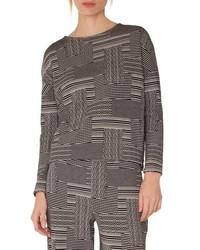 Akris Punto Wool Cotton Patchwork Jacquard Top