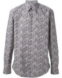 Grey Print Long Sleeve Shirt