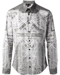 Les Hommes Geometric Print Shirt