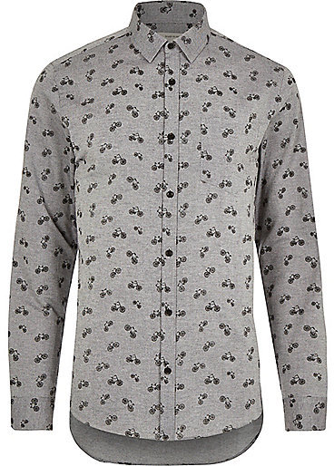 Grey bike print oxford long sleeve shirt grey print long sleeve shirt