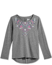 Grey Print Long Sleeve T-Shirt
