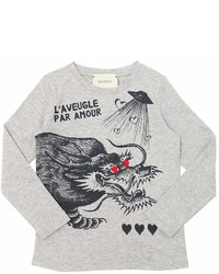 Gucci Dragon Printed Cotton Jersey T Shirt