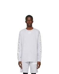 Off-White Grey Airport Tape Long Sleeve T Shirt
