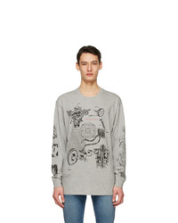 Givenchy Grey Oversized Schematics Long Sleeve T Shirt