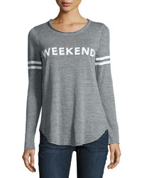 Long sleeve weekend graphic tee gray medium 1154984