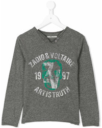Zadig Voltaire Kids Logo Print Long Sleeve T Shirt