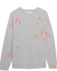 Chinti and Parker 3d Star Oversized Cashmere Sweater Gray