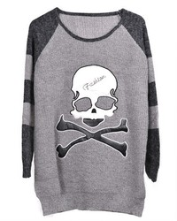 ChicNova Skull Pattern Striped Raglan Sleeves Pullover