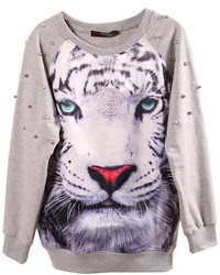 ChicNova Tiger Graphic Studded Sweatshirt