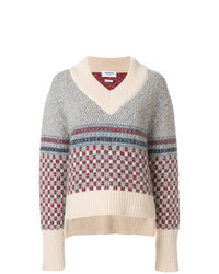 Thom Browne Crab Toy Icon Tweed V Neck Pullover