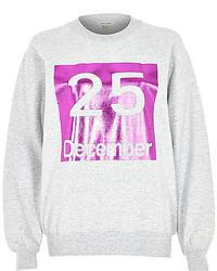 River Island Grey 25 December Print Sweatshirt