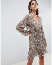 ASOS DESIGN Long Sleeve Mini Dress With Open Back In Animal Print With Ruffle Details