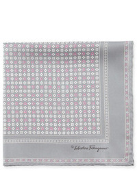Gancini flower pocket square gray medium 9837