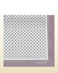 Gucci Partridge Print Silk Pocket Square